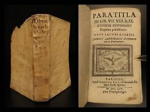 1654 LAW Justinian Corpus Juris Codex Paratitla Jacques