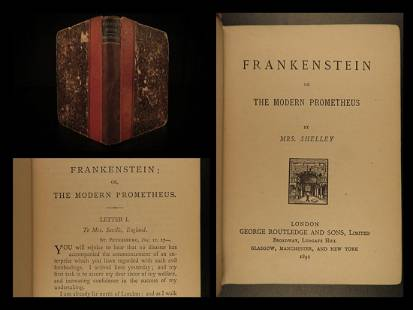 1891 FRANKENSTEIN Modern Prometheus Mary Shelley Horror