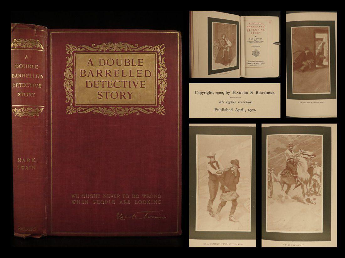 1902 1st ed Mark TWAIN Double Barrelled Detective