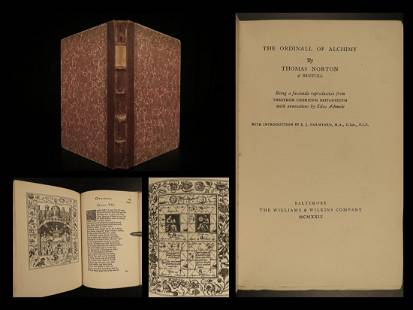1929 Thomas Norton Ordinall of Alchemy Old English