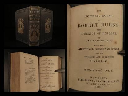 1852 1ed Robert Burns Scottish Poetry Scotland Poems