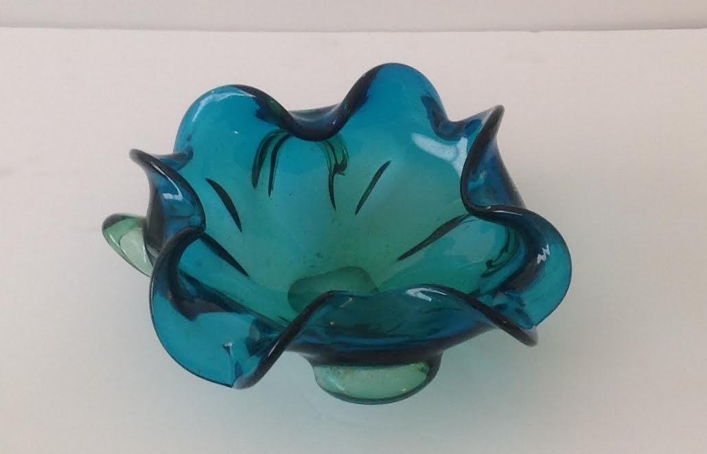 MURANO ART GLASS  CORRUGATED TRAY - 2