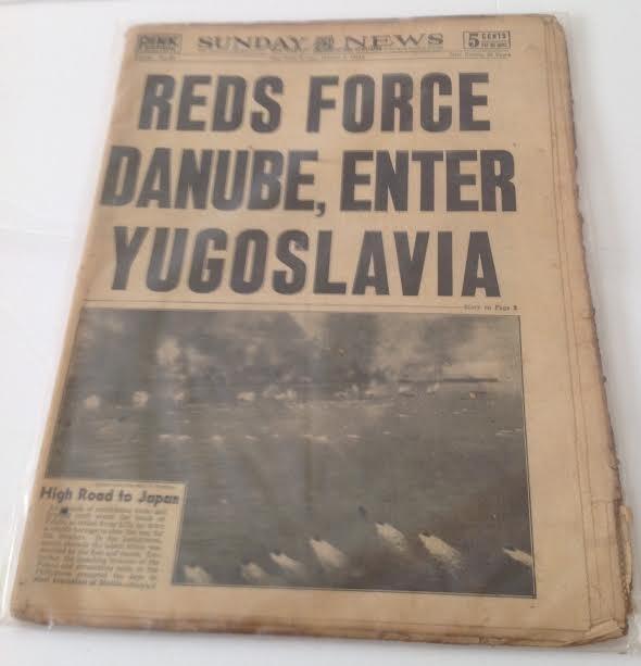SUNDAY NEWS- SECOND WORLD WAR DANUBE,YUGOSLAVIA 1944