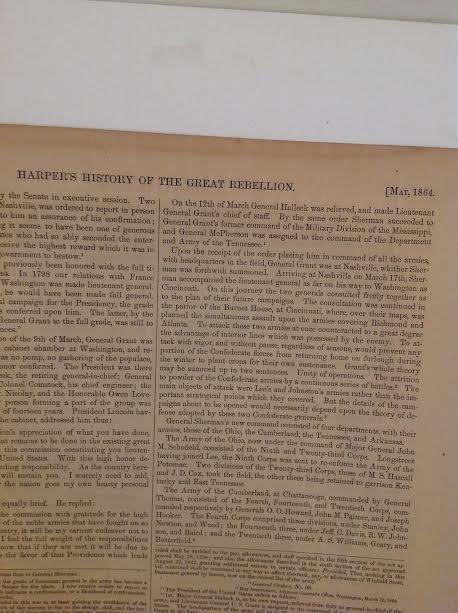 GEN GRANT-HARPERS HISTORY OF GREAT REBELLION 1864 PRINT - 4