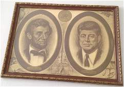 """POSTER PRINT A LINCOLN & JOHN F. KENNEDY """"THE PARALLEL"""