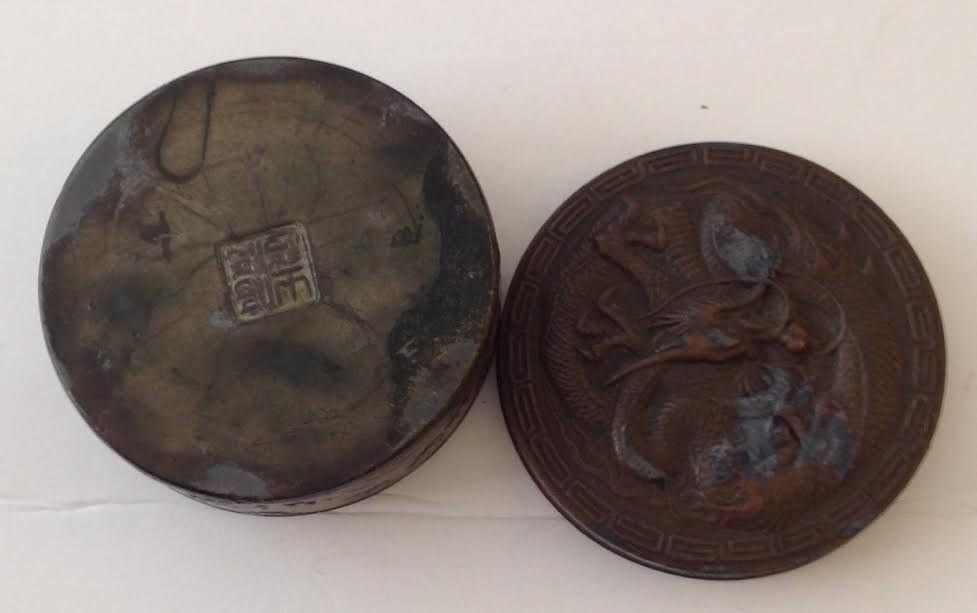 CAST IRON TRINKET BOX WITH A BRONZE STYLE COATING - 4