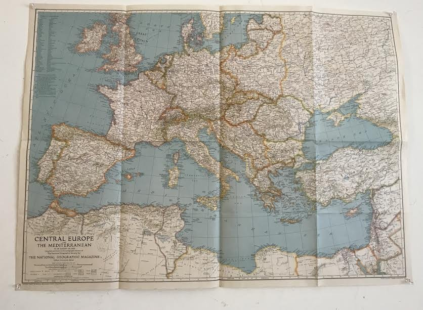 Central Europe The Mediterranean Map 36 x 26 – 1939