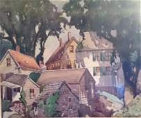 Framed Julius Delbos watercolor, Remote Scene 33 x 31
