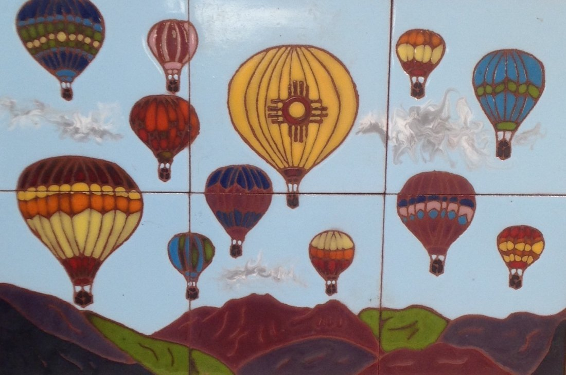 Vintage Framed Heavy Balloon  Tile Art 21 x 15 In.