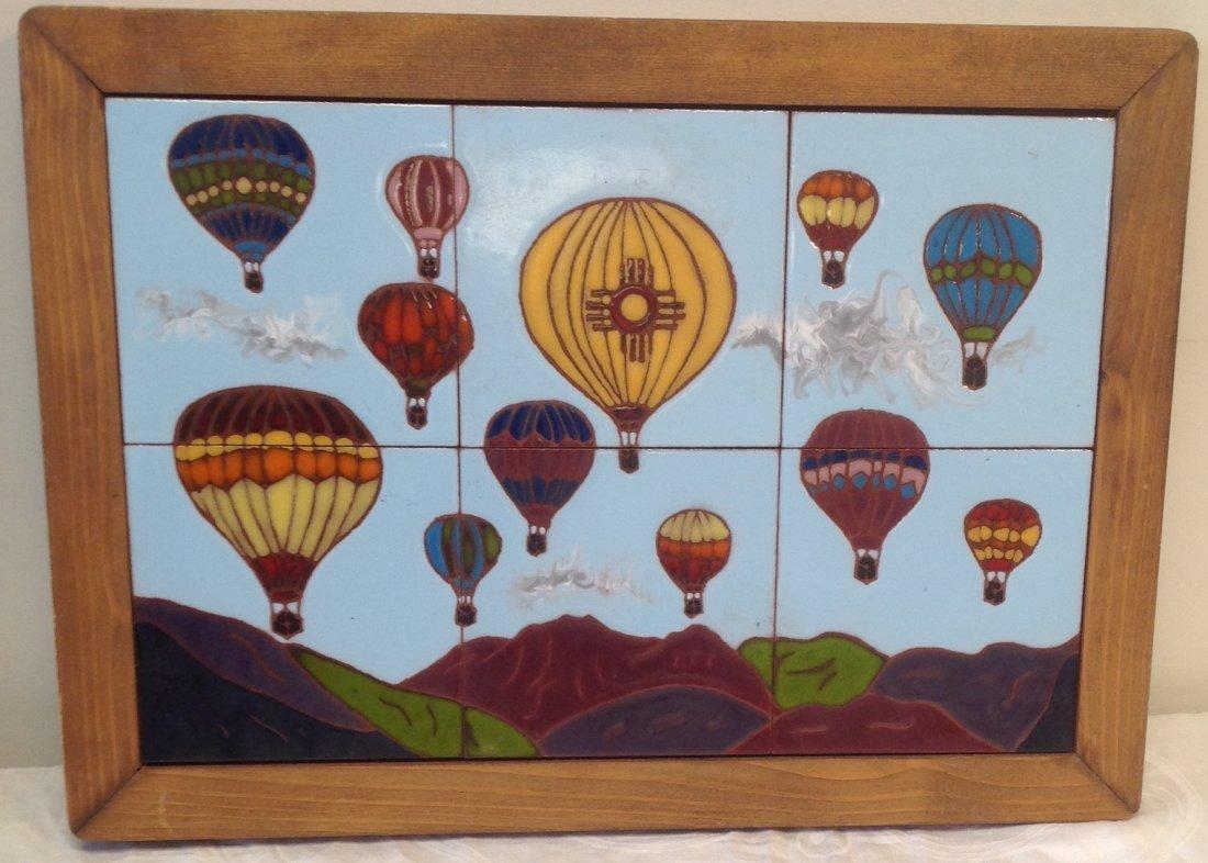 Vintage Framed Heavy Balloon  Tile Art 21 x 15 In. - 2