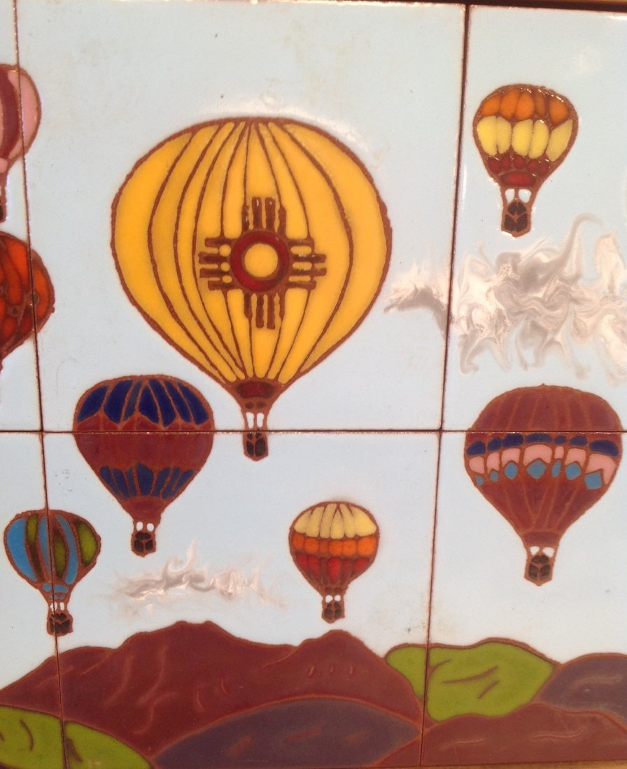 Vintage Framed Heavy Balloon  Tile Art 21 x 15 In. - 3