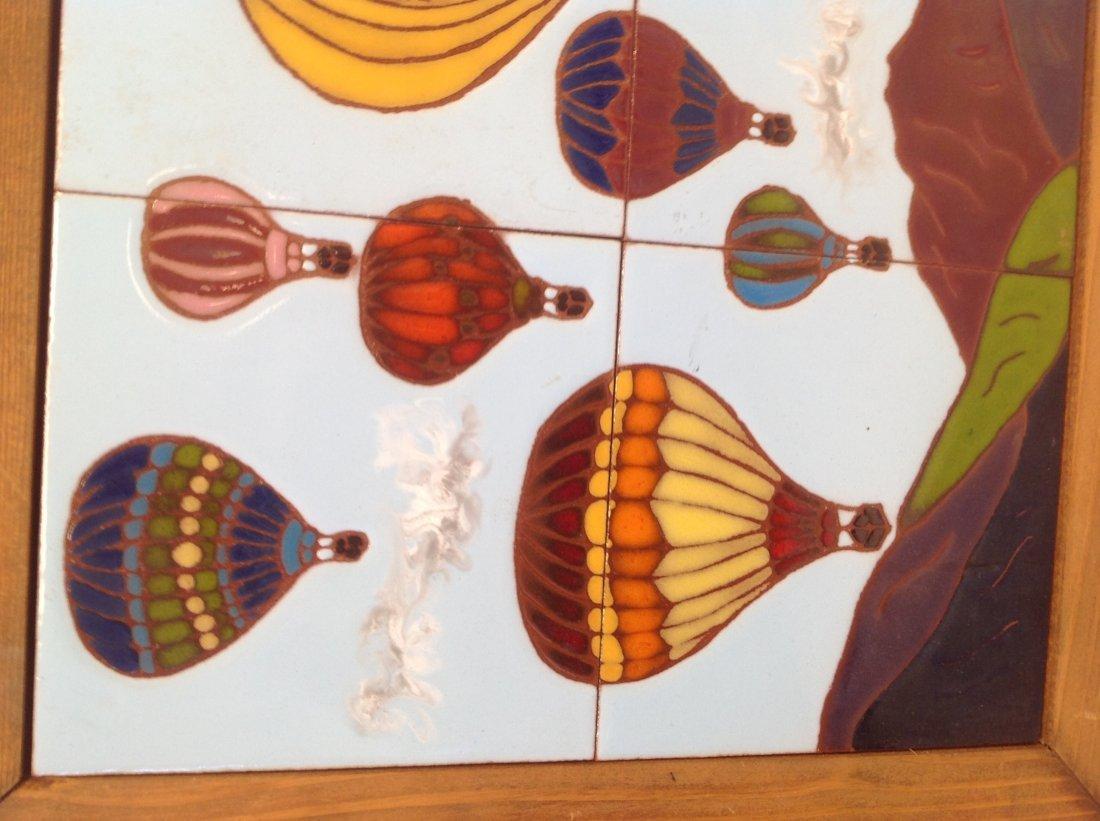 Vintage Framed Heavy Balloon  Tile Art 21 x 15 In. - 4
