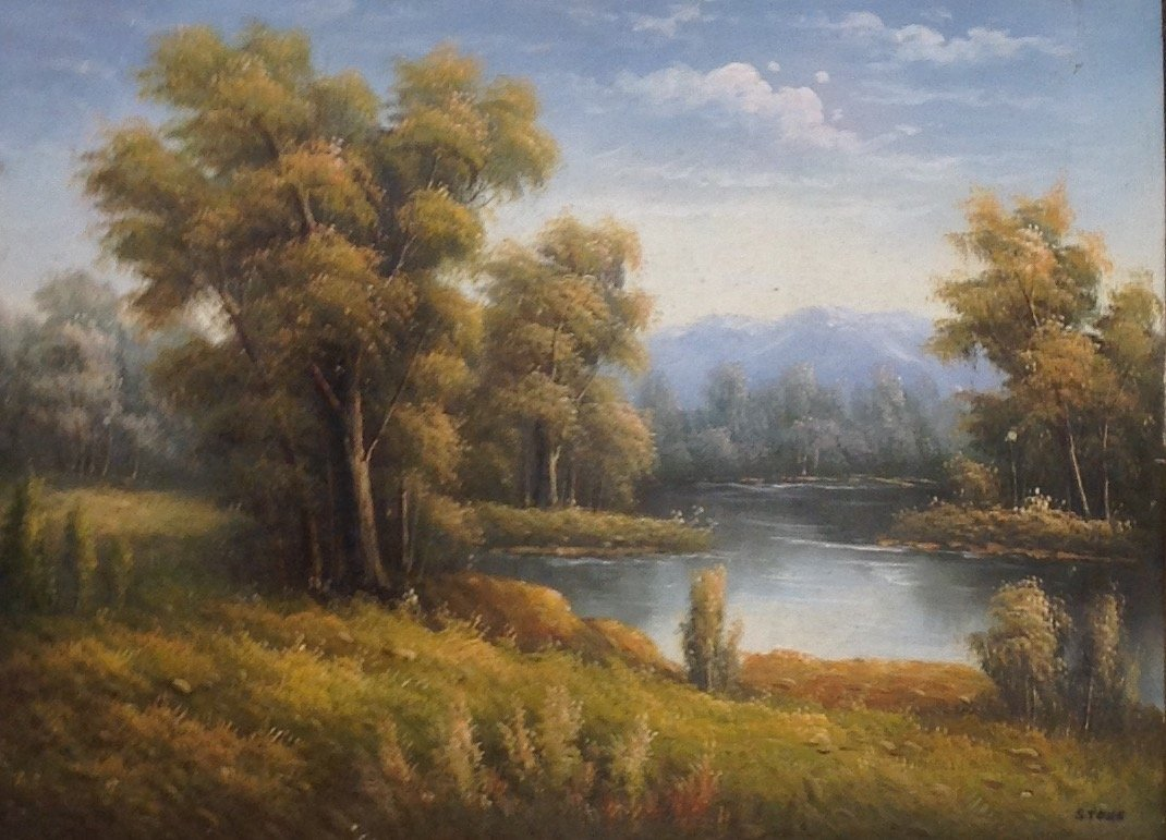 """Signed """"Stone"""" Oil Style Print River Image 23 x 19"""