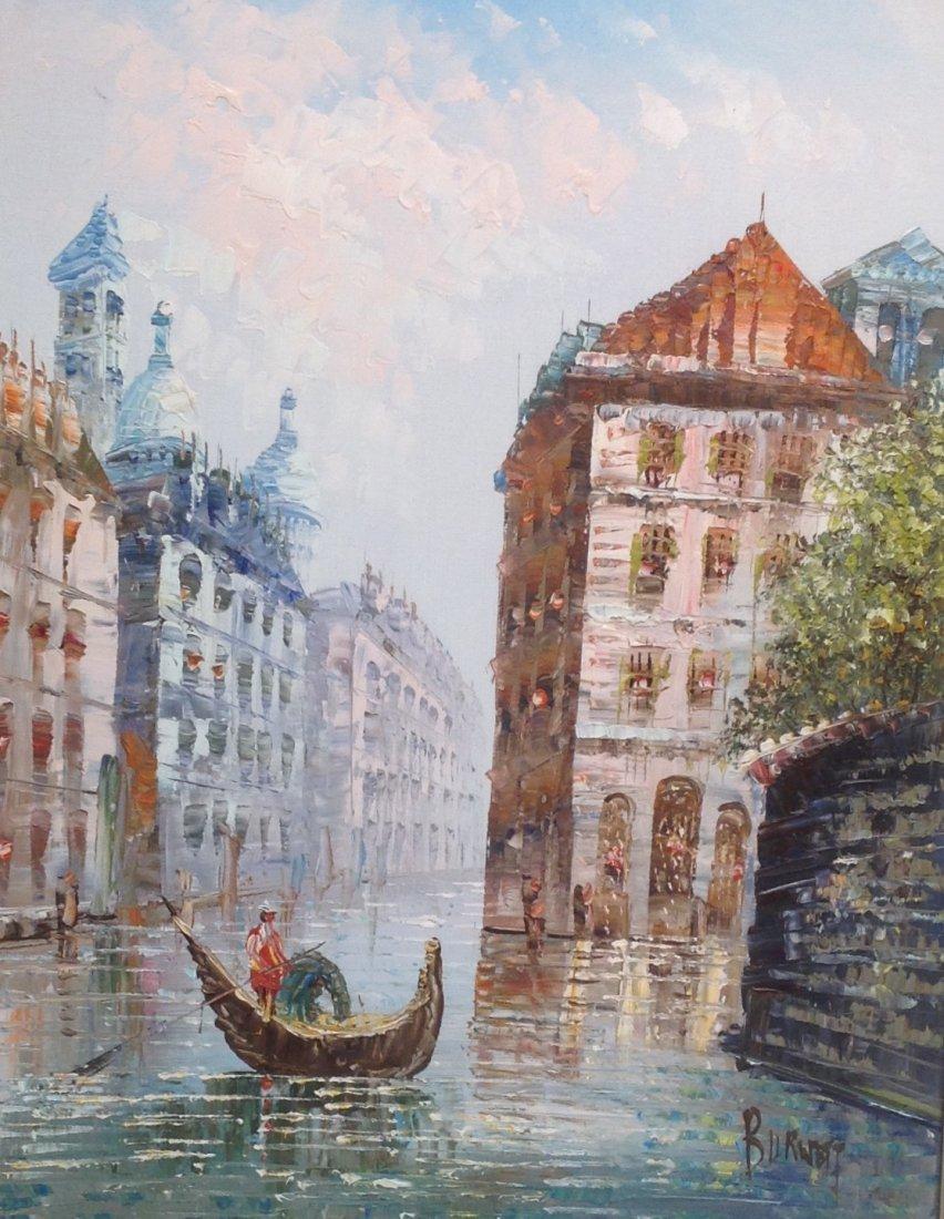 Signed Caroline C Burnett Painting Venice 25 x 21