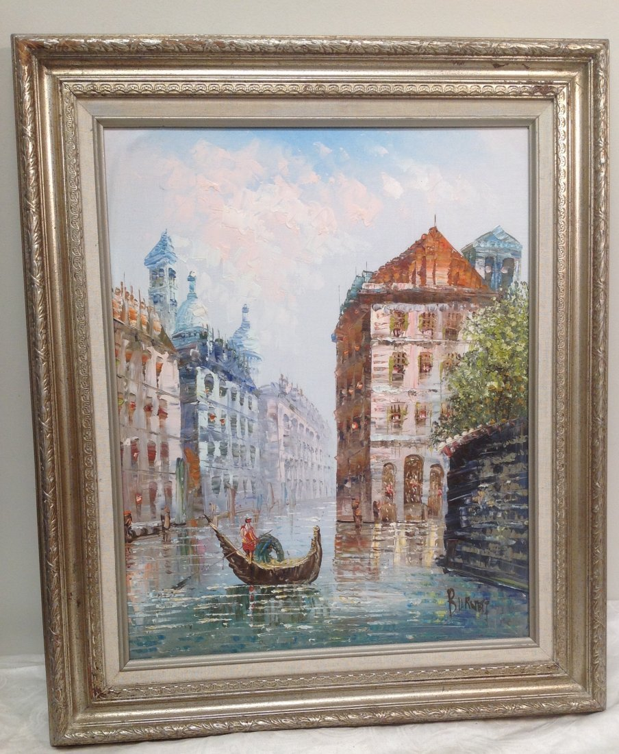 Signed Caroline C Burnett Painting Venice 25 x 21 - 2