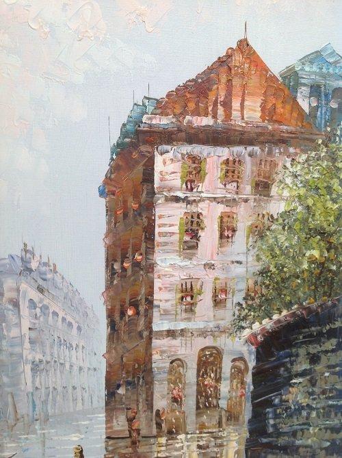 Signed Caroline C Burnett Painting Venice 25 x 21 - 4