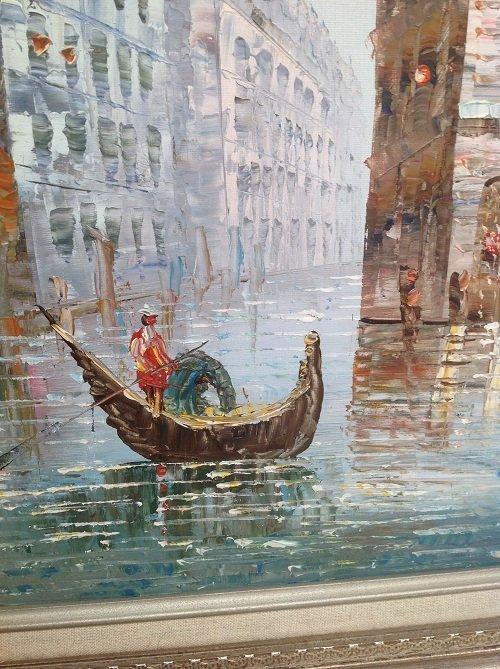Signed Caroline C Burnett Painting Venice 25 x 21 - 5