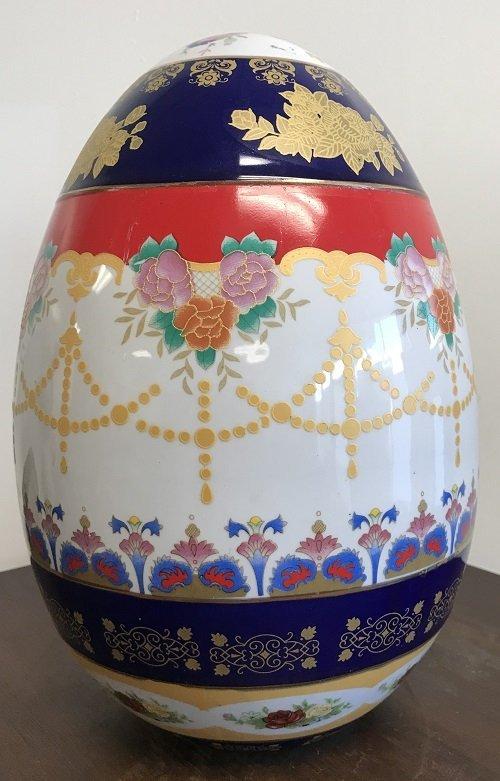 Porcelain Japanese Egg Shape Cloisonne Style