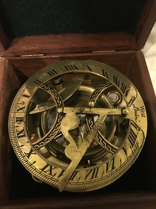 English Nautical brass compass in box. - 2
