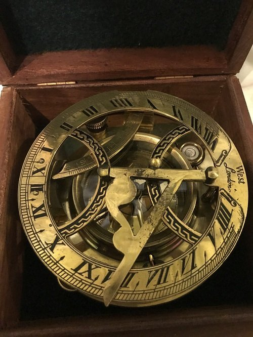 English Nautical brass compass in box. - 3
