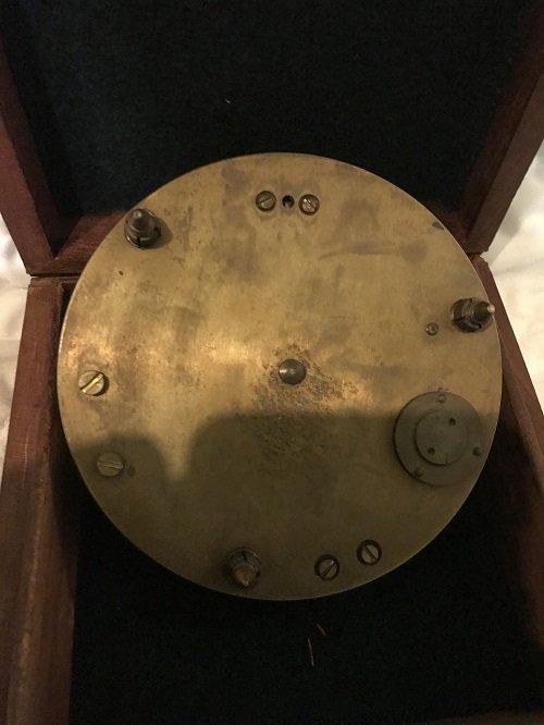 English Nautical brass compass in box. - 4