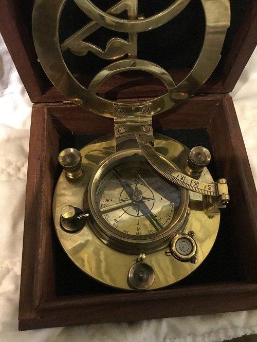 English Nautical brass compass in box. - 5