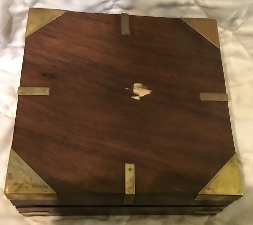 English Nautical brass compass in box. - 6