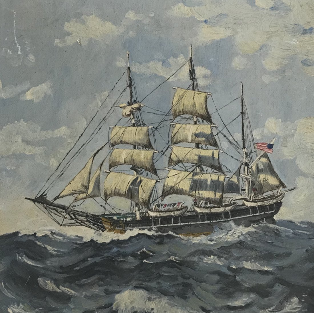 Sail Boat Oil Painting 12 x 12
