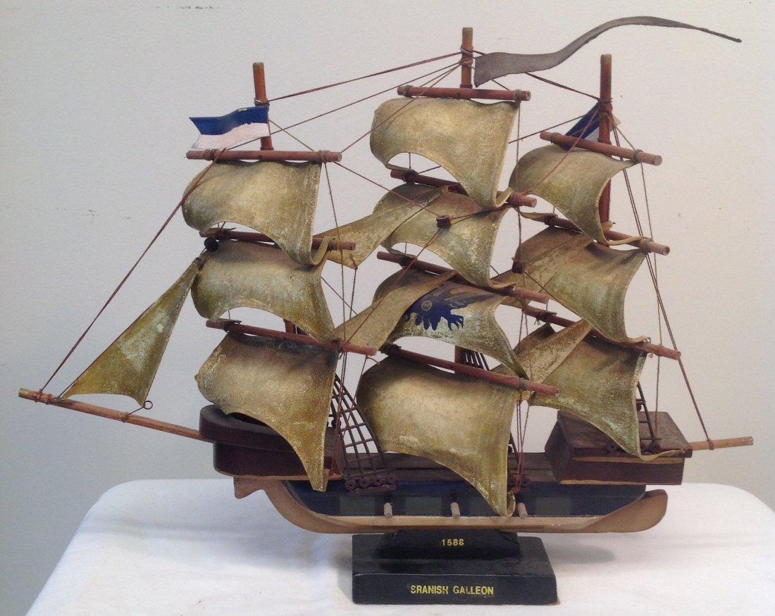 1586 Spanish Galleon Sail boat model 21 x 15