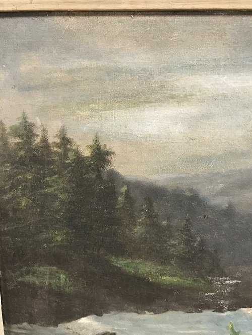 SIGNED HUDSON RIVER SCHOOL PAINTING 31 x 18 - 6
