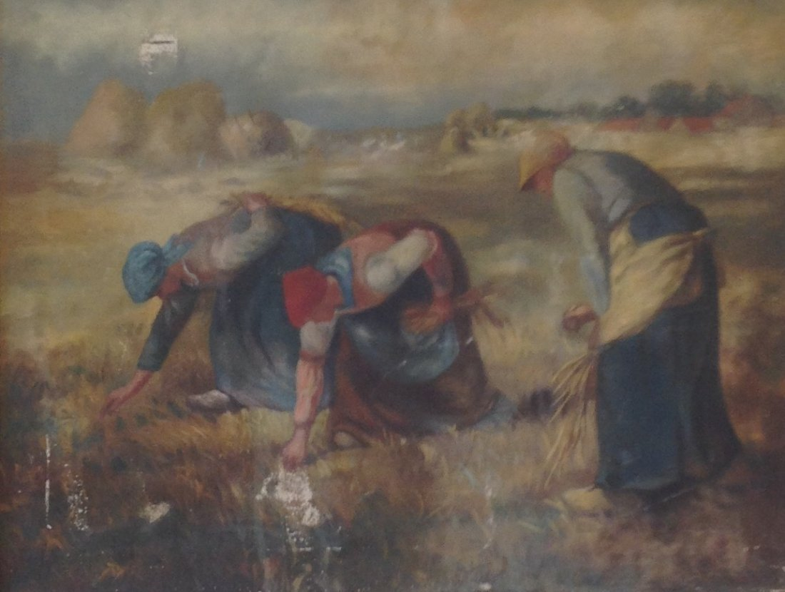 Signed Painting Women Farming 34 x 27