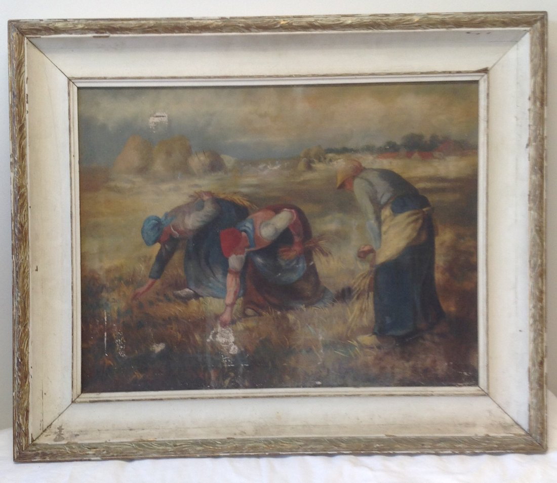 Signed Painting Women Farming 34 x 27 - 2