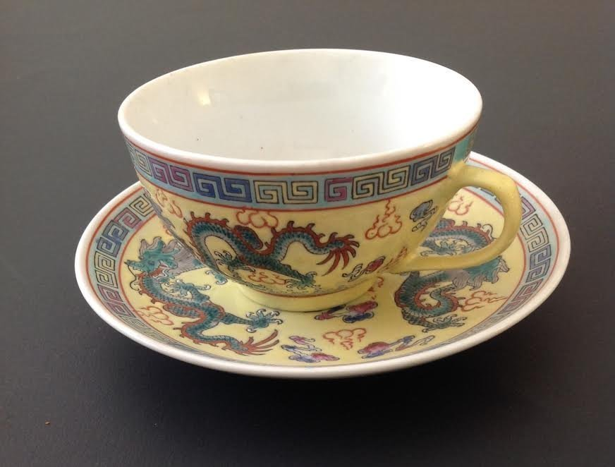 VINTAGE CHINESE PORCELAIN TEA CUP & SAUCER / STAMPED