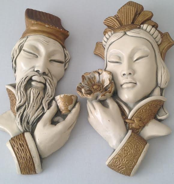 Pair Ceramic Hand Carved Japanese Face Mask Bust