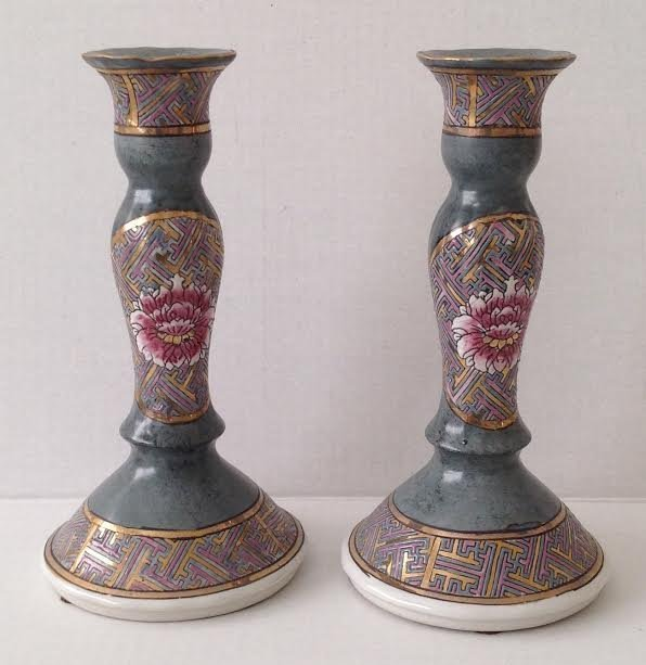 Pair Chinese Cloisonn Style Candleholder