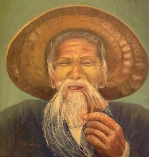 ROSE BUCHMAN OIL PAINTING- PORTRAIT CHINESE MAN 13 x 13