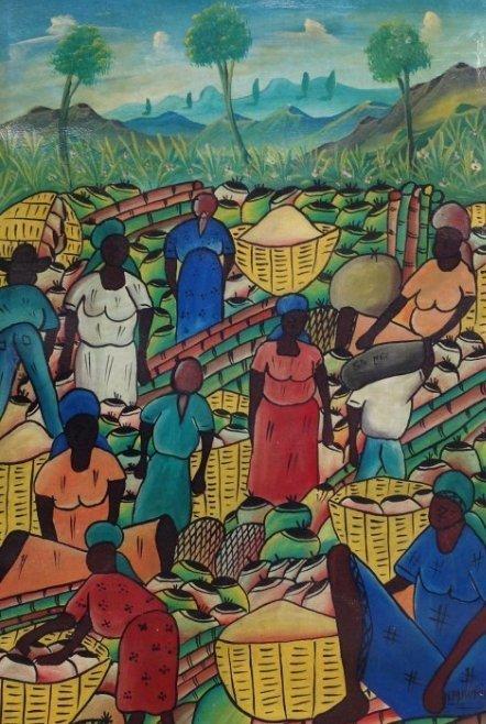Vintage Sac Maurice Caribbean Marketplace Painting