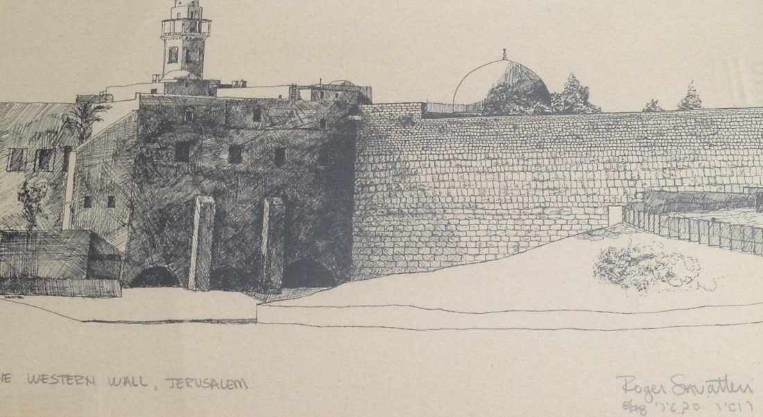 Roger Savatteri Etching Depicting The Western Wall