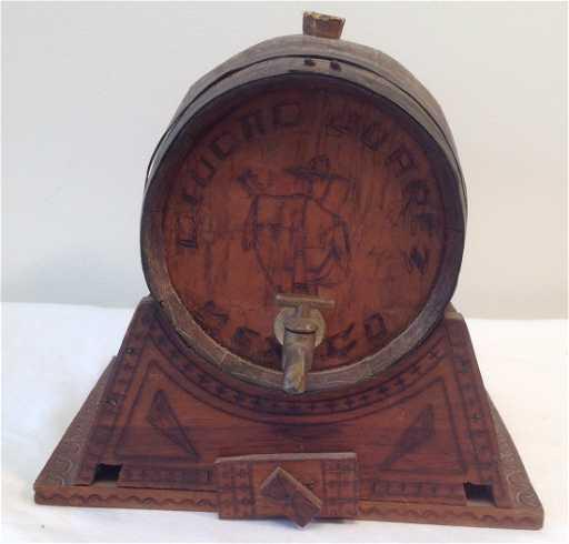 antique liquid juarez mexican liquor barrel