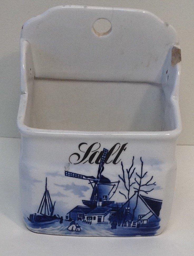 Vintage Delft Style Salt Container