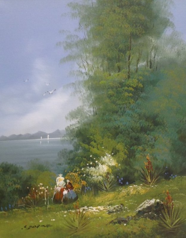 Signed Oil painting Ladies Lakeside 21 x 26