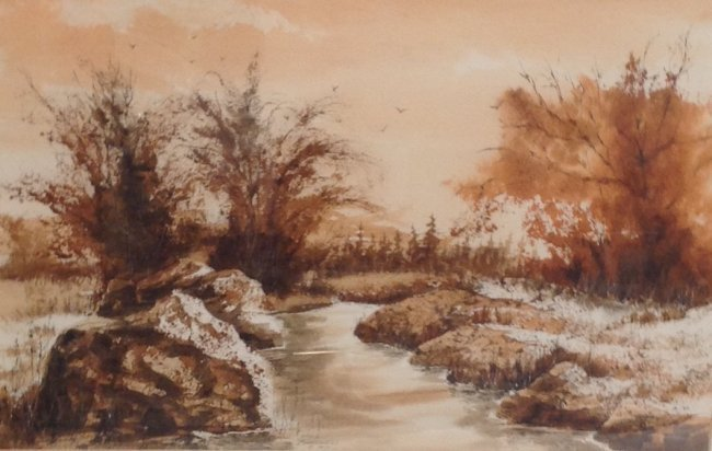 Signed John L Barnwell W/C Painting 18 x 24