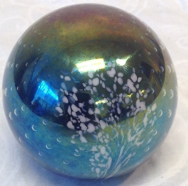 Signed Paperweight multi Color glass