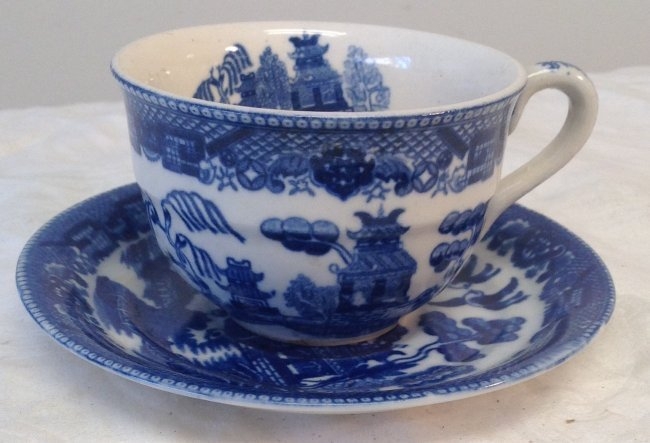 Japanese Blue Willow Tea Cup/ Saucer