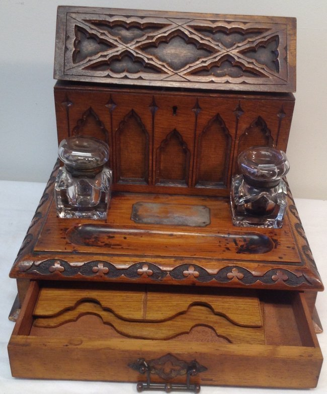 Writing desk / Inkwell with Bottles 12 x 8