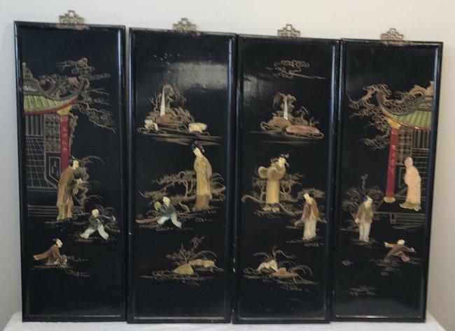 Four Asian Wood Panels 25 H