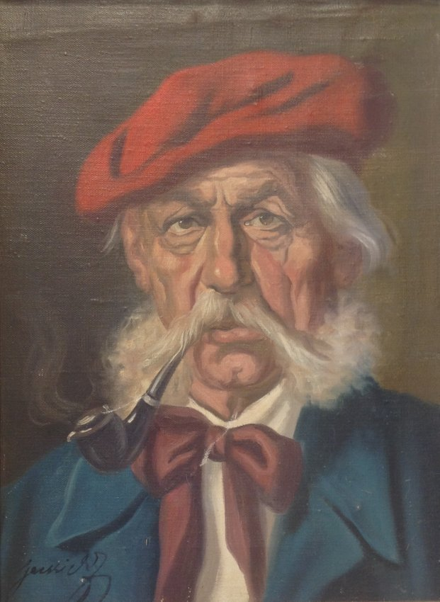Signed Painting Man Smoking Pipe Portrait 18 x 14
