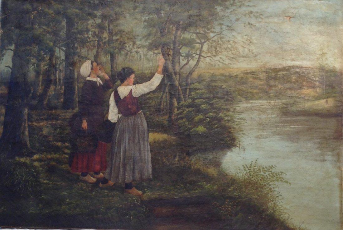 Hudson River School Painting Attribute 45 x 30