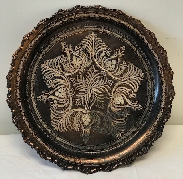 Beautiful vintage Copper Tray / Floral Design