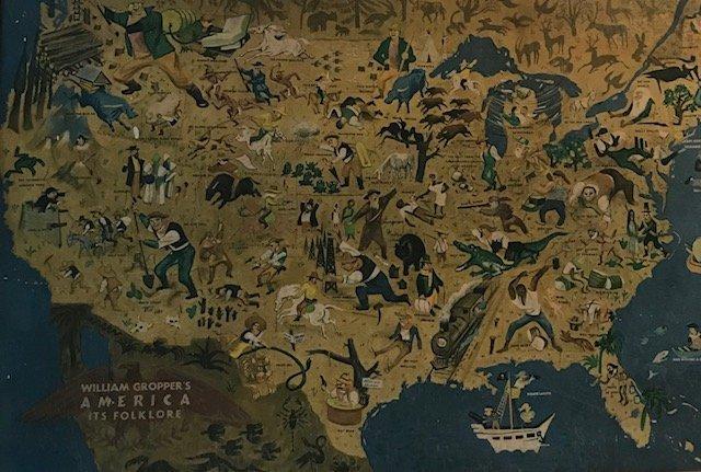 Antique William Gropper's America Folklore Map 1940s